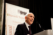 "London session of the Russel Tribunal on Palestine. "" Corporate Complicity in Israel's violations in international human rights law and international humanitarian law"". <br /> Stephane Hessel,making the closing speach on day 1. He was born 20 October 1917, is a diplomat, former ambassador and French resistance fighter and BCRA agent. Born German, he obtained French nationality in 1937. He participated in the drafting of the Universal Declaration of Human Rights of 1948."