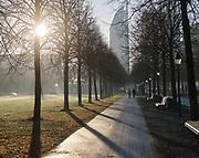 Pad langs het Malieveld in de ochtend met zicht op het Ministerie van Onderwijs, Cultuur en Wetenschappen (OCW) in Den Haag. | Path along the Malieveld in the morning with a view of the Ministry of Education, Culture and Science (OCW) in The Hague.