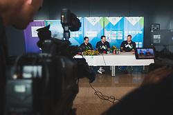 Aleksander Sekulic, Luka Doncic and Matej Erjavec during arrival of Slovenian national team from Tokio 2020 Olympic games, 8. August 2021, Airport Jozeta Pucnika, Ljubljana, Slovenia. Photo by Grega Valancic