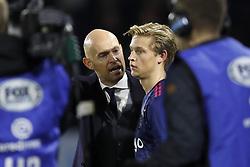 (L-R) coach Marcel Keizer of Ajax, Frenkie de Jong of Ajax during the Dutch Eredivisie match between NAC Breda and Ajax Amsterdam at the Rat Verlegh stadium on November 18, 2017 in Breda, The Netherlands