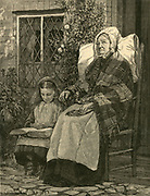 Grandmother and granddaughter. Engraving 1887.
