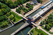 Nederland, Limburg, Gemeente Maasgouw, 27-05-2013; ingang Lateraalkanaal LInne-Buggenum, met sluis Heel. Sluiskolk wordt verbreed.<br /> Entrance Meuse Lateral Canal Linne-Buggenum. Lock chamber is widened. Acces to Meuse and Meuse-lakes near Roermond.<br /> luchtfoto (toeslag op standaardtarieven);<br /> aerial photo (additional fee required);<br /> copyright foto/photo Siebe Swart.