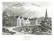 John Dryden (1631-1700)  English poet. Dryden's birthplace at Aldwinkle, Northamptonshire. Engraving