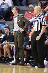 07 January 2018:  Paul Lusk stands near Kipp Kissinger during a College mens basketball game between the Missouri State Bears and Illinois State Redbirds in Redbird Arena, Normal IL