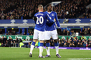 Romelu Lukaku of Everton (r) celebrates scoring his teams 4th goal with teammate Ross Barkley. Barclays Premier League match, Everton v Aston Villa at Goodison Park in Liverpool on Saturday 21st November 2015.<br /> pic by Chris Stading, Andrew Orchard sports photography.