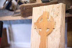 22 September 2016, Castlemilk, Glasgow, Scotland: Wooden handicraft produced at the carpentry workshops of Castlemilk Parish Church.