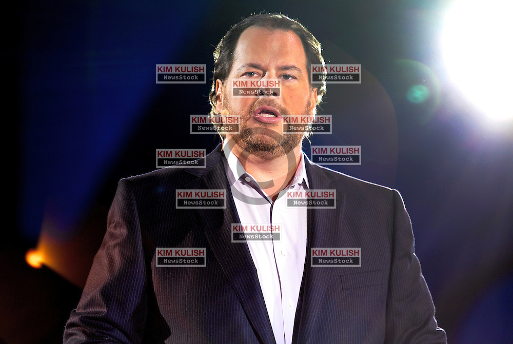 Marc Benioff, Chairman and CEO of salesforce.com gives a keynote address during the Salesforce 2012 Dreamforce Conference in San Francisco, California.  A reported 90,000 people registered to attend the vendor technology event.
