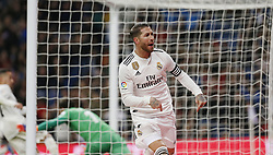 January 25, 2019 - Madrid, Madrid, Spain - Sergio Ramos(Real Madrid) seen celebrating after scoring a goal during the Copa del Rey Round of quarter-final first leg match between Real Madrid CF and Girona FC at the Santiago Bernabeu Stadium in Madrid, Spain. (Credit Image: © Manu Reino/SOPA Images via ZUMA Wire)