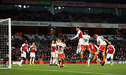 Blackpool's Paudie O'Connor (second right) scores his side's first goal of the game during the Carabao Cup, Fourth Round match at the Emirates Stadium, London.