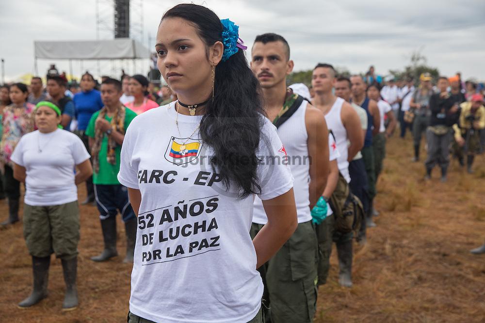 El Diamante, Meta, Colombia - 17.09.2016        <br /> <br /> Opening ceremony of the 10th conference of the marxist FARC-EP in El Diamante, a Guerilla controlled area in the Colombian district Meta. Few days ahead of the peace contract passing after 52 years of war with the Colombian Governement wants the FARC decide on the 7-days long conferce their transformation into a unarmed political organization. <br /> <br /> Eroeffnungszeremonie der zehnten Konferenz der marxistischen FARC-EP in El Diamante, einem von der Guerilla kontrollierten Gebiet im kolumbianischen Region Meta. Wenige Tage vor der geplanten Verabschiedung eines Friedensvertrags nach 52 Jahren Krieg mit der kolumbianischen Regierung will die FARC auf ihrer sieben taegigen Konferenz die Umwandlung in eine unbewaffneten politischen Organisation beschließen. <br />  <br /> Photo: Bjoern Kietzmann