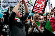 November 21st. Westminster. Demonstration organised by National Union of Students (NUS) against education cuts. Students hold a placard saying 'F**k Fees' and wearing Palestinian flags shout slogans.