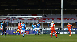 Jerry Yates of Blackpool (number 9) scores his sides opening goal of the game - Mandatory by-line: Joe Dent/JMP - 21/11/2020 - FOOTBALL - Weston Homes Stadium - Peterborough, England - Peterborough United v Blackpool - Sky Bet League One