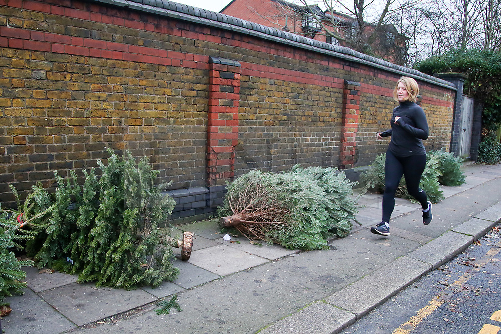 © Licensed to London News Pictures. 26/12/2020. London, UK. A runner runs past a line of discarded Christmas trees on a pavement in Haringey, north London on Boxing Day. Traditionally Christmas decorations including the tree are taken down on Twelfth Night after Christmas Day. Photo credit: Dinendra Haria/LNP