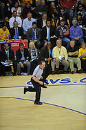 The Washington Wizards defeated the Cleveland Cavaliers 88-87 in Game 5 of the First Round of the NBA Playoffs, April 30, 2008 at Quicken Loans Arena in Cleveland.<br /> Cavaliers head coach Mike Brown yells at referee Joe Derosa.