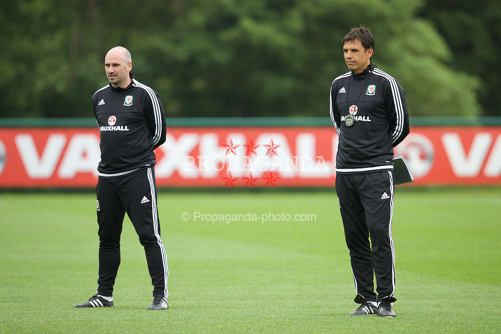 CARDIFF, WALES - Saturday, June 4, 2016: Wales' performance psychologist Ian Mitchall and manager Chris Coleman during a training session at the Vale Resort Hotel ahead of the International Friendly match against Sweden. (Pic by David Rawcliffe/Propaganda)