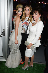 Left to right, RITA ORA, CARA DELEVINGNE and JOAN COLLINS at the Glamour Women of the Year Awards in association with Pandora held in Berkeley Square Gardens, London on 4th June 2013.
