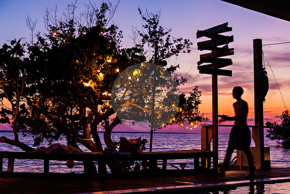 Sunset at Pineapples Bar on Green Turtle Cay, Bahamas.