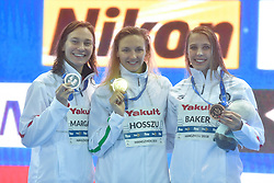 HANGZHOU, Dec. 15, 2018  Gold medalist Katinka Hosszu (C) of Hungary, silver medalist Melanie Margalis (L) of the United States and bronze medalist Kathleen Baker of the United States pose for photo during the awarding ceremony of Women's 200m Individual Medley Final at 14th FINA World Swimming Championships (25m) in Hangzhou, east China's Zhejiang Province, on Dec. 15, 2018. Katinka Hosszu claimed the title with 2:03.25. (Credit Image: © Xinhua via ZUMA Wire)