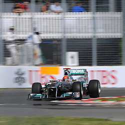 Germany's Michael Schumacher drives the Mercedes-Benz F1 MGP W02 during practice for the 2011 Formula 1 Canadian Grand Prix, Montral, QC.