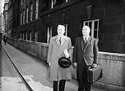 21st April 1954<br /> <br /> Minister for Finance Seán MacEntee pictured on Budget Day.