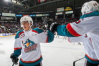 KELOWNA, CANADA - FEBRUARY 10: Leif Mattson #28 of the Kelowna Rockets celebrates a goal against the Vancouver Giants on February 10, 2017 at Prospera Place in Kelowna, British Columbia, Canada.  (Photo by Marissa Baecker/Shoot the Breeze)  *** Local Caption ***