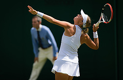 July 1, 2019 - London, GREAT BRITAIN - Anett Kontaveit of Estonia in action during the first round of the 2019 Wimbledon Championships Grand Slam Tennis Tournament against Shelby Rogers of the United States (Credit Image: © AFP7 via ZUMA Wire)