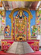29 DECEMBER 2014 - SINGAPORE, SINGAPORE:  A Hindu altar in the Sri Srinivasa Perumal Temple on Senrangoon Road in Singapore.  PHOTO BY JACK KURTZ