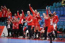 KOLDING, DENMARK - DECEMBER 5: Arne Senstad, head coach of Poland, and Natalia Nosek (#39) celebrate during the EHF Euro 2020 Group D match between Poland and Romania in Sydbank Arena, Kolding, Denmark on December 5, 2020. Photo Credit: Allan Jensen/EVENTMEDIA.