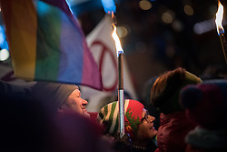 """10 December 2017, Oslo, Norway: In the evening of 10 December some 4,000 people from around the world gathered in central Oslo for a torch light march for peace. The event took place after the Nobel Peace Prize award 2017, awarded to the International Campaign to Abolish Nuclear Weapons (ICAN), for """"its work to draw attention to the catastrophic humanitarian consequences of any use of nuclear weapons and for its ground-breaking efforts to achieve a treaty-based prohibition of such weapons"""". Among the crowd were more than 20 """"Hibakusha"""", survivors of the atomic bombings in Hiroshima and Nagasaki, as well as a range of activists, faith-based organizations and others who work or support work for peace, in one or another way. Here, Tor Magne."""