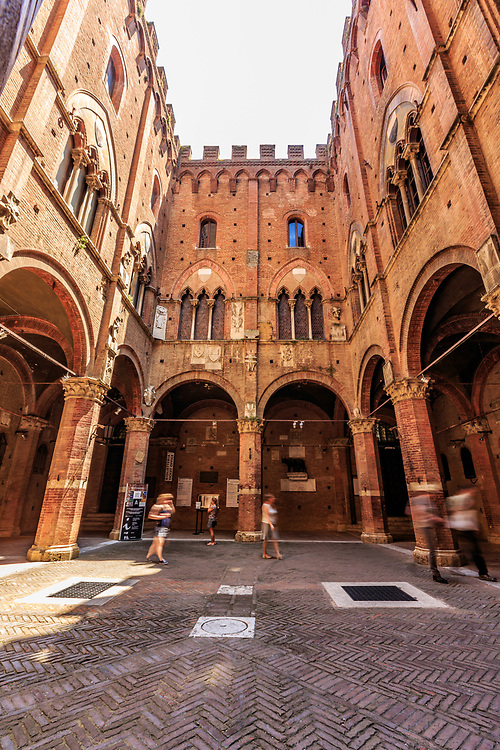 The Palazzo Pubblico courtyard  in Siena, Italy.