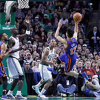 04 March 2012: New York Knicks point guard Jeremy Lin (17) goes for the acrobatic layup during the Boston Celtics 115-111 (OT) victory over the New York Knicks at the TD Garden, Boston, Massachusetts, USA.