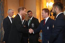 The Duke of Sussex meets England cricket captain Eoin Morgan (centre), Australia captain Aaron Finch (left), Bangladesh captain Masrafe Bin Mortaza (second left) and India captain Virat Kohli (right) during a Royal Garden Party at Buckingham Palace in London.