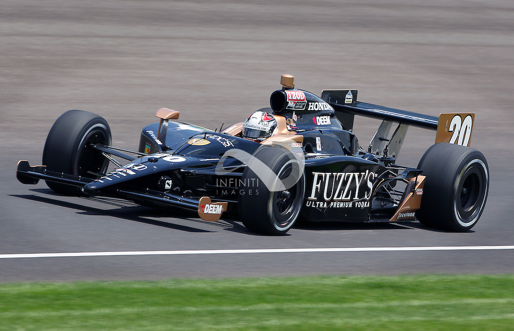 Fuzzy's Vodka driver Ed Carpenter is seen on the track during practice for the Indy 500 at the Indianapolis Motor Speedway in Indianapolis, Indiana.  Photo by Brian Spurlock, Infiniti Images.  Client, Fuzzy's Vodka