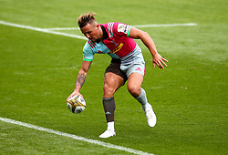 Niall Saunders of Harlequins scores a try - Mandatory by-line: Robbie Stephenson/JMP - 29/07/2017 - RUGBY - Franklin's Gardens - Northampton, England - Gloucester Rugby v Harlequins - Singha Premiership Rugby 7s