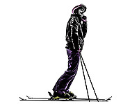 one  woman skier skiing on the telephone in silhouette on white background