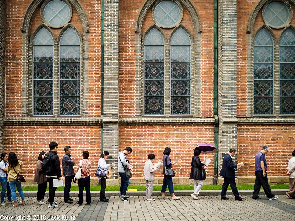 10 JUNE 2018 - SEOUL, SOUTH KOREA: The Catholic Cathedral in  Myeong-dong area of Seoul.   PHOTO BY JACK KURTZ