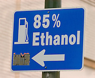 Signs point the way to  an E-85 pump in Omaha, Neb.  It is the only one in Omaha that has the 85% ethanol blend.. Photo stock for Ethanol in the Midwest. Photo by Chris Machian
