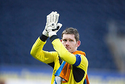Falkirk's keeper Michael McGovern at the end.<br /> Falkirk 1 v 1 Morton, Scottish Championship game today at The Falkirk Stadium.<br /> © Michael Schofield.