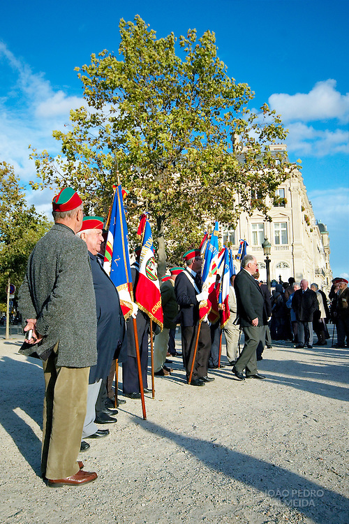 French veterans gathering at a garden in Paris