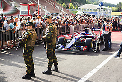 August 24, 2017 - Spa, Belgium - Military protection inside the pitlane during the Formula One Belgian Grand Prix at Circuit de Spa-Francorchamps on August 24, 2017 in Spa, Belgium. (Credit Image: © Xavier Bonilla/NurPhoto via ZUMA Press)