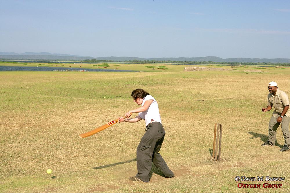 Playing Cricket in Polonnaruwa