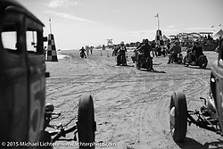 Moving up to the starting line at the Race of Gentlemen. Wildwood, NJ, USA. October 10, 2015.  Photography ©2015 Michael Lichter.