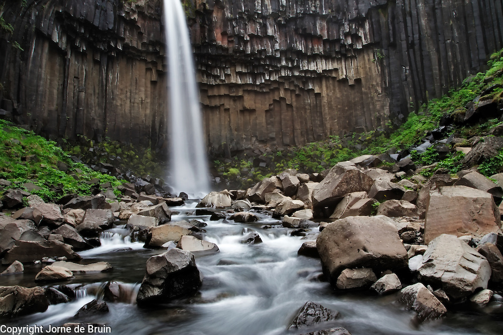 The basalt cathedral of Svartifoss (black falls) in the south of Iceland.