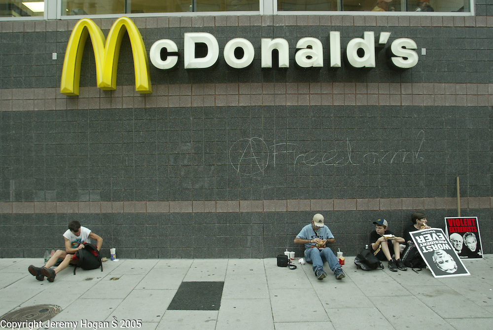 The anarchy sign and the work freedom was written on a McDonalds during the Blac Bloc Anarchists separate march during the anti-war march on Washington.