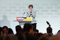 07 DEC 2018, HAMBURG/GERMANY:<br /> Annegret Kramp-Karrenbauer, CDU Parteivorsitzende, nach Ihere Wahl zur Parteivorsitzenden, CDU Bundesparteitag, Messe Hamburg<br /> IMAGE: 20181207-01-181<br /> KEYWORDS: party congress