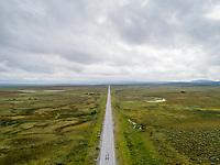 Dronefoto av Sennalandet, en øde fjellstrekning i Kvalsund og Alta kommuner, Finnmark.