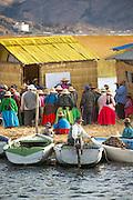 Village meeting at the town hall, Lake Titicaka, Puno, Peru, South America