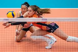 Romy Brokking of Netherlands, Jolijn de Haan of Netherlands in action during semi final Netherlands - Serbia, FIVB U20 Women's World Championship on July 17, 2021 in Rotterdam