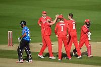 Cricket - 2020 T20 Vitality Blast - Quarter-final - Sussex Sharks vs Lancashire Lightning - County Ground, Hove<br /> <br /> Lancashire Lightning celebrate the wicket of Ravi Bopara of Sussex Sharks lbw to Tom Hartley for 6.<br /> <br /> COLORSPORT/ASHLEY WESTERN