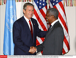 File Photo - American President George W. Bush is greeted by UN Secretary General Kofi Annan as he arrives at the United Nation headquarters in New York to address the General Assembly on US policy towards Irak. New York City-NY-USA, 12/09/2002. Kofi Annan, the former UN secretary-general who won the Nobel Peace Prize for humanitarian work, has died aged 80, his aides say. Photo by Nicolas Khayt/ABACAPRESS.COM